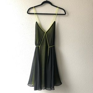 Bardot Spaghetti Strap Neon Green & Black Dress
